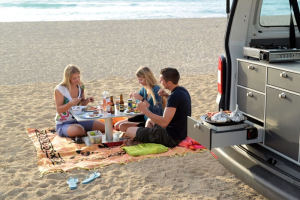 Camping table for Minivans, 4 parts